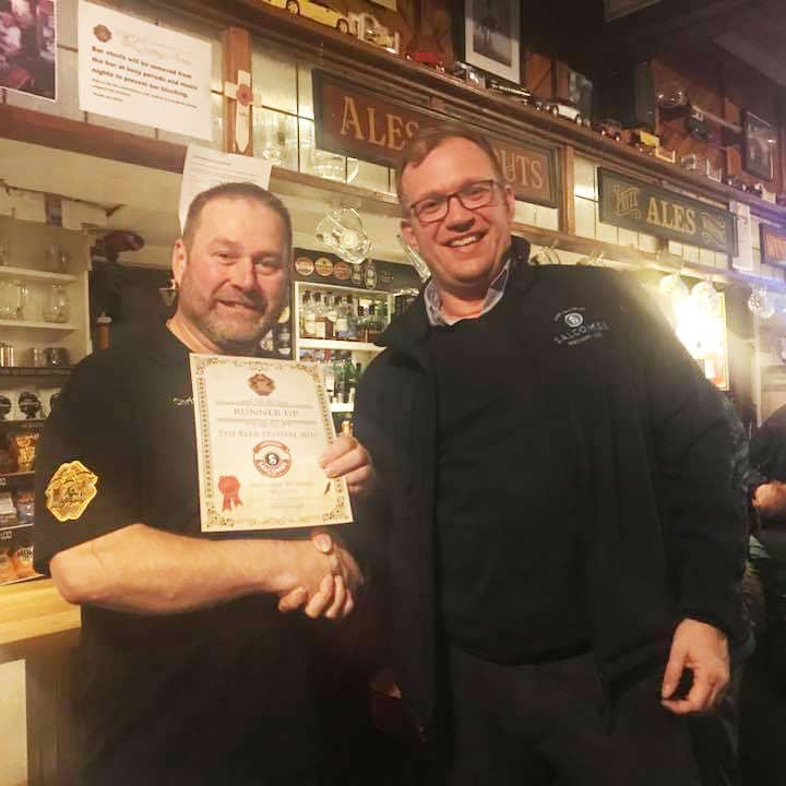 Award at Winter Beer Festival at Queen's Arms Brixham